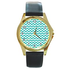 Turquoise And White Zigzag Pattern Round Leather Watch (Gold Rim)