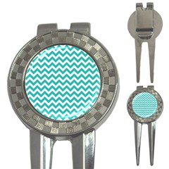 Turquoise And White Zigzag Pattern Golf Pitchfork & Ball Marker