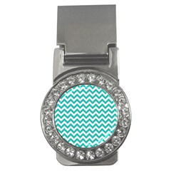 Turquoise And White Zigzag Pattern Money Clip (CZ)