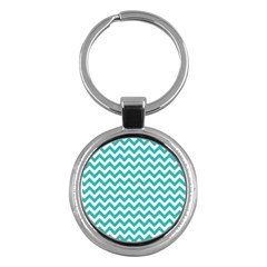 Turquoise And White Zigzag Pattern Key Chain (round)