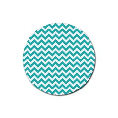 Turquoise And White Zigzag Pattern Drink Coaster (Round)