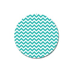 Turquoise And White Zigzag Pattern Magnet 3  (Round)