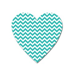 Turquoise And White Zigzag Pattern Magnet (Heart)