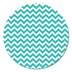 Turquoise And White Zigzag Pattern Magnet 5  (Round)
