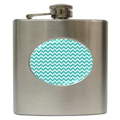 Turquoise And White Zigzag Pattern Hip Flask