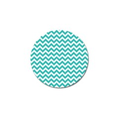 Turquoise And White Zigzag Pattern Golf Ball Marker