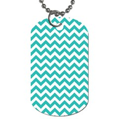 Turquoise And White Zigzag Pattern Dog Tag (Two-sided)