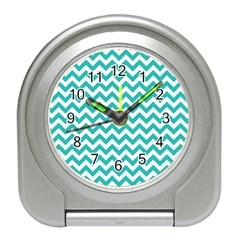 Turquoise And White Zigzag Pattern Desk Alarm Clock