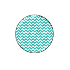 Turquoise And White Zigzag Pattern Golf Ball Marker (for Hat Clip)