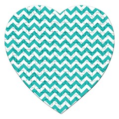 Turquoise And White Zigzag Pattern Jigsaw Puzzle (Heart)
