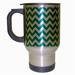 Turquoise And White Zigzag Pattern Travel Mug (Silver Gray)