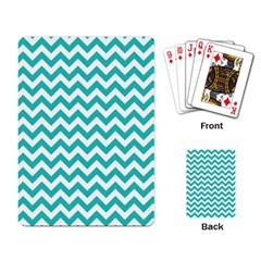 Turquoise And White Zigzag Pattern Playing Cards Single Design