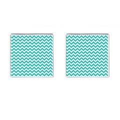 Turquoise And White Zigzag Pattern Cufflinks (Square)