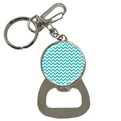 Turquoise And White Zigzag Pattern Bottle Opener Key Chain