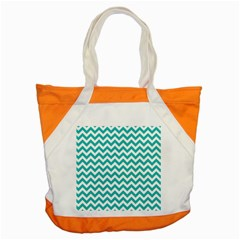 Turquoise And White Zigzag Pattern Accent Tote Bag