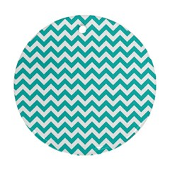 Turquoise And White Zigzag Pattern Round Ornament (two Sides)
