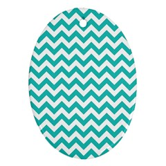 Turquoise And White Zigzag Pattern Oval Ornament (Two Sides)