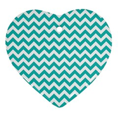 Turquoise And White Zigzag Pattern Heart Ornament (Two Sides)