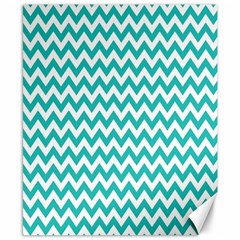Turquoise And White Zigzag Pattern Canvas 8  x 10  (Unframed)