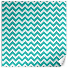 Turquoise And White Zigzag Pattern Canvas 12  X 12  (unframed)
