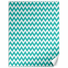 Turquoise And White Zigzag Pattern Canvas 12  x 16  (Unframed)