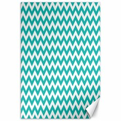 Turquoise And White Zigzag Pattern Canvas 12  x 18  (Unframed)