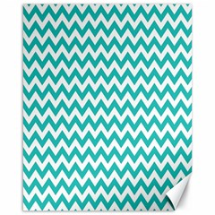 Turquoise And White Zigzag Pattern Canvas 16  x 20  (Unframed)