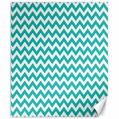 Turquoise And White Zigzag Pattern Canvas 20  X 24  (unframed)