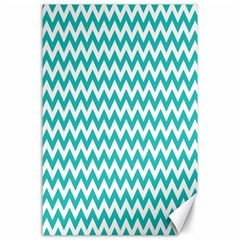 Turquoise And White Zigzag Pattern Canvas 24  x 36  (Unframed)