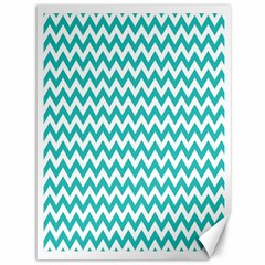 Turquoise And White Zigzag Pattern Canvas 36  x 48  (Unframed)