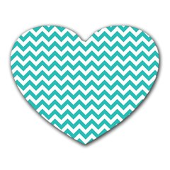 Turquoise And White Zigzag Pattern Mouse Pad (Heart)