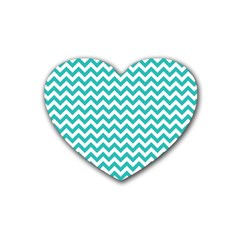 Turquoise And White Zigzag Pattern Drink Coasters (Heart)