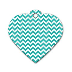 Turquoise And White Zigzag Pattern Dog Tag Heart (Two Sided)