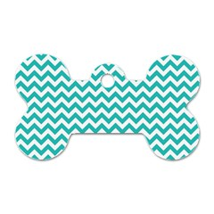 Turquoise And White Zigzag Pattern Dog Tag Bone (One Sided)