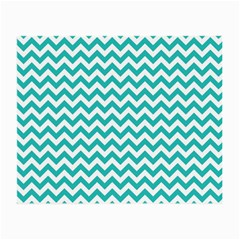 Turquoise And White Zigzag Pattern Glasses Cloth (Small, Two Sided)