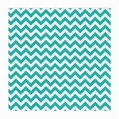 Turquoise And White Zigzag Pattern Glasses Cloth (Medium, Two Sided)