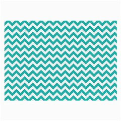 Turquoise And White Zigzag Pattern Glasses Cloth (Large, Two Sided)