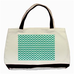Turquoise And White Zigzag Pattern Twin-sided Black Tote Bag