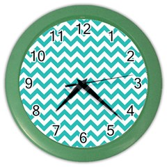 Turquoise And White Zigzag Pattern Wall Clock (color)