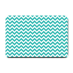 Turquoise And White Zigzag Pattern Small Door Mat