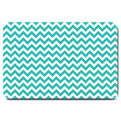 Turquoise And White Zigzag Pattern Large Door Mat