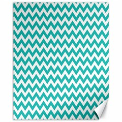Turquoise And White Zigzag Pattern Canvas 11  x 14  (Unframed)
