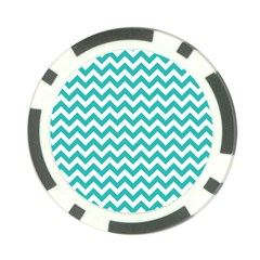 Turquoise And White Zigzag Pattern Poker Chip