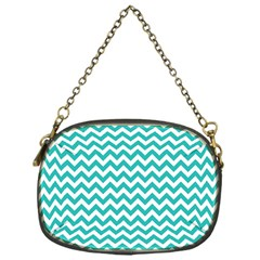 Turquoise And White Zigzag Pattern Chain Purse (one Side)