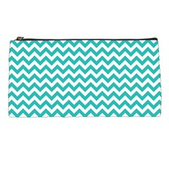 Turquoise And White Zigzag Pattern Pencil Case