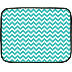 Turquoise And White Zigzag Pattern Mini Fleece Blanket (two Sided)