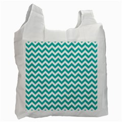 Turquoise And White Zigzag Pattern White Reusable Bag (one Side)