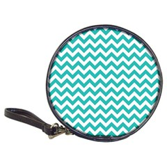 Turquoise And White Zigzag Pattern CD Wallet