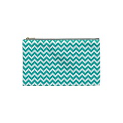 Turquoise And White Zigzag Pattern Cosmetic Bag (small)