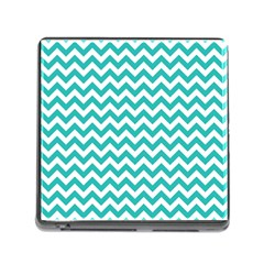 Turquoise And White Zigzag Pattern Memory Card Reader with Storage (Square)